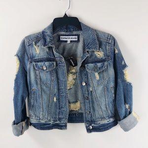 NWT Express Denim Distressed Cropped Jacket